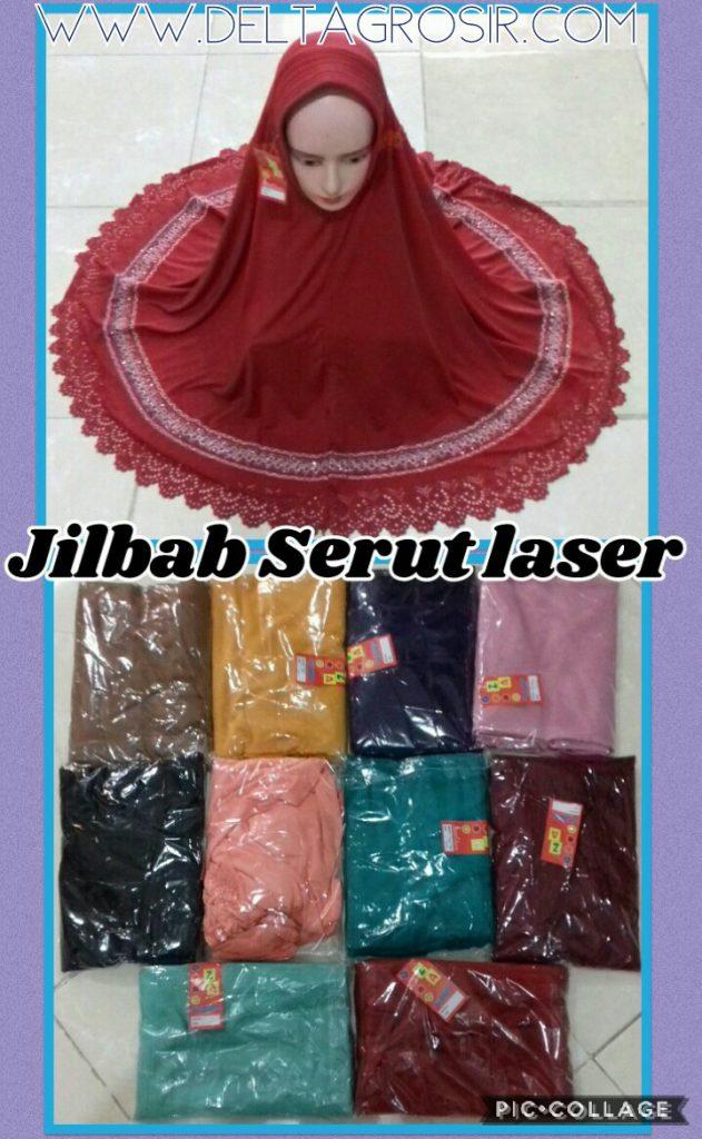 Konveksi Jilbab Serut Pita Laser Dewasa Murah Surabaya 27Ribu