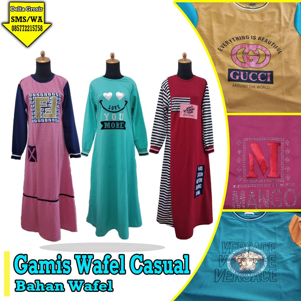 Supplier Gamis Wafel Casual Dewasa Murah