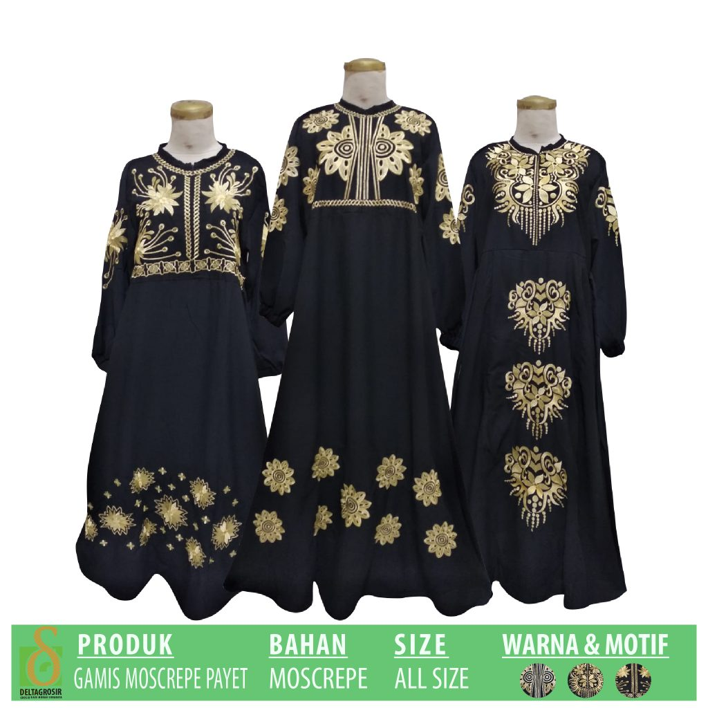 Supplier Gamis Moscrepe Payet Murah